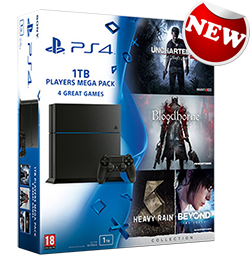 Купить PS4 1TB Mega Pack Bundle: Uncharted 4, Bloodborne, Beyond: Тwo Souls/Heavy Rain в Украине