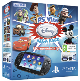 PS Vita Bundle Disney Mega Pack / Wi-Fi + 3G + MC 8Gb + 6 игр